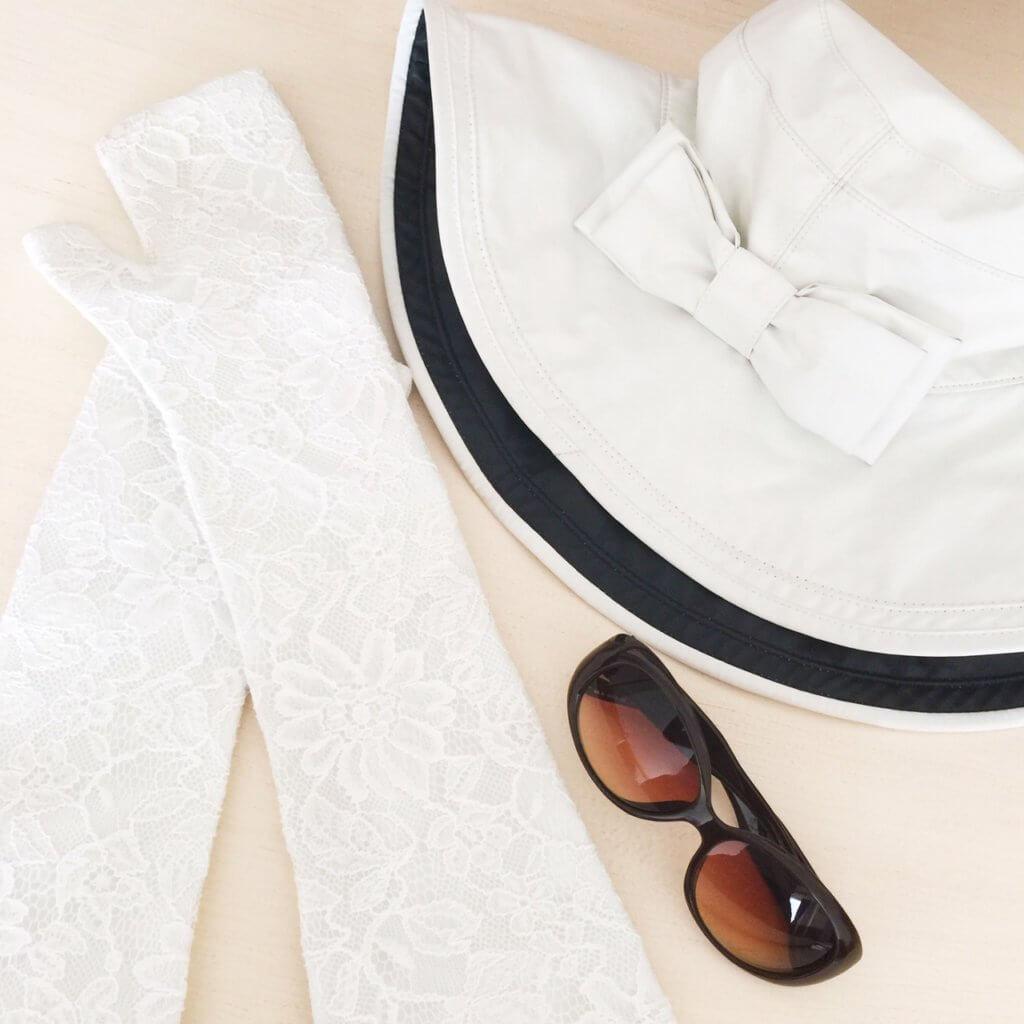 芦屋ロサブラン サングラス グローブ リボンハット 100%完全遮光 UVカット ツバ広帽子