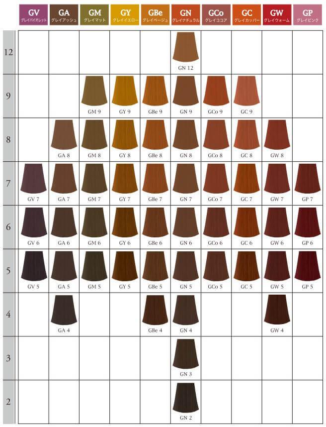 graicyscolor ナプラ グレイシスカラー カラー展開
